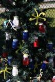 爱国圣诞树在迈尔斯堡,佛罗里达,美国中 免版税库存照片