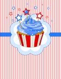 爱国杯形蛋糕地方卡片 免版税库存照片