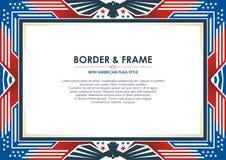 爱国框架,与美国国旗样式和颜色设计 皇族释放例证