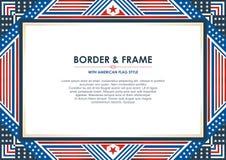 爱国框架,与美国国旗样式和颜色设计 向量例证