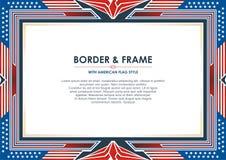 爱国框架,与美国国旗样式和颜色设计 库存例证