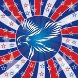 爱国横幅的老鹰 免版税图库摄影