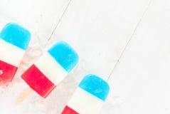 爱国红色白色蓝色冰棍儿 库存照片