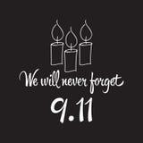 爱国者天,简单的纪念设计例证9月11日 免版税库存照片