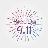 爱国者天,简单的纪念设计例证9月11日 免版税库存图片