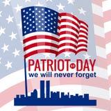 爱国者天 9月11日 我们不会忘记,美国国旗,传染媒介,被隔绝,例证 库存图片