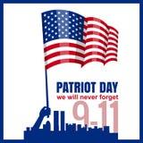 爱国者天 9月11日 我们不会忘记,递举行美国国旗,传染媒介,被隔绝,例证 免版税图库摄影