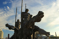 爱国者雕象在波士顿 库存照片