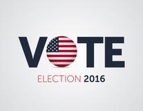 爱国2016年投票的海报 总统选举2016年在美国 与美国的圆的旗子的印刷横幅 库存照片