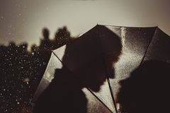 爱在亲吻的夫妇雨/剪影在伞下 免版税图库摄影