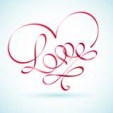 爱在心脏的形状的词丝带 库存图片