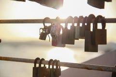 爱在挂锁 库存图片