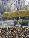 爱在巴黎友谊和浪漫史的桥梁标志的锁 免版税库存照片