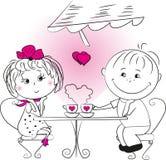 爱坐在咖啡馆的男人和妇女 库存照片