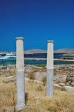 爱奥尼亚人柱头,在提洛岛海岛上的建筑细节 图库摄影