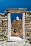 爱奥尼亚人柱头,在提洛岛海岛上的建筑细节 免版税库存照片