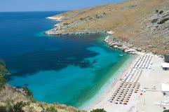爱奥尼亚人阿尔巴尼亚的海岸 免版税图库摄影