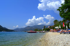 爱奥尼亚海海滩,希腊 免版税库存图片