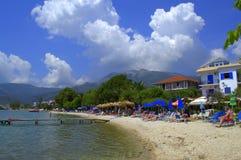 爱奥尼亚海海滩, Nydri,希腊 库存图片