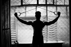 爱好健美者困难培训在体操里 免版税库存照片