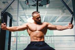 爱好健美者大厦胳膊在健身房背景干涉 有一臂之力肌肉的一位赤裸上身的运动员 坚硬锻炼概念 库存图片