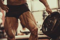 爱好健美者肌肉腿特写镜头  做在健身房的运动员人锻炼锻炼 图库摄影