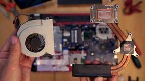 爱好者冷却在上述主板的膝上型计算机致冷机cpu 股票录像