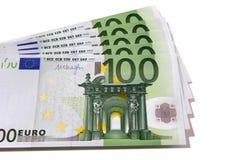 爱好者堆欧元被隔绝的100张钞票 免版税库存照片