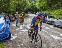 爱好者攀登彻尔du Granier的Cyslists 免版税图库摄影