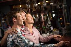 爱好者的画象在酒吧的 免版税库存图片
