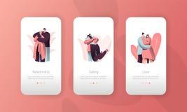 爱对人关系流动应用程序接口集合 拥抱妇女的人在华伦泰日期 浪漫恋人字符 库存例证