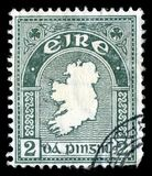 爱尔兰共和国Eire被取消的地图邮票 图库摄影