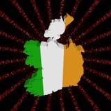 爱尔兰在红色六角形的代码的地图旗子破裂了例证 向量例证