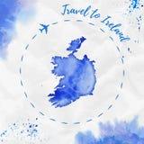爱尔兰在蓝色颜色的水彩地图 库存照片