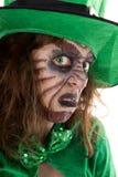 爱尔兰妖精女孩的画象,概念圣PatrickÂ的天 库存照片