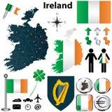 爱尔兰的地图有地区的 免版税库存图片