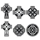 爱尔兰语,在白色标志的苏格兰凯尔特十字架 免版税库存图片