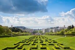 爱德华七世公园在里斯本,葡萄牙 免版税图库摄影