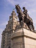 爱德华七世国王和肝脏大厦,利物浦 免版税库存照片