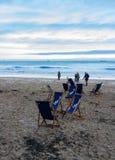 爱德华国王` s海湾,英国冬天早晨场面 库存照片