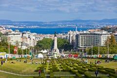 爱德华多VII公园在里斯本,葡萄牙 图库摄影
