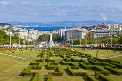 爱德华多VII公园在里斯本,葡萄牙 免版税库存照片