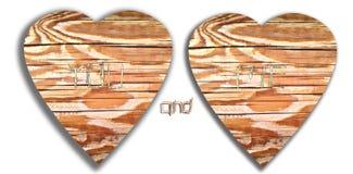 爱心脏和最初街道画被雕刻入树木头 库存图片