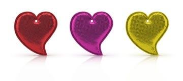 爱心脏在与裁减路线的白色隔绝的形状玩具 库存照片