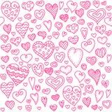爱心脏无缝的样式 乱画心脏 浪漫背景 也corel凹道例证向量 库存图片