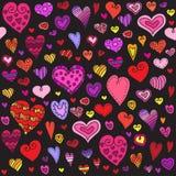 爱心脏无缝的样式 乱画心脏 浪漫背景 也corel凹道例证向量 免版税库存图片