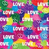爱心脏无缝的样式 乱画装饰手拉的背景 免版税库存图片