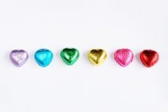 爱心脏甜颜色的巧克力华伦泰 免版税库存图片