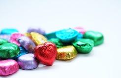 爱心脏甜颜色的巧克力华伦泰 免版税图库摄影