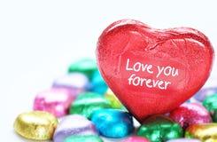 爱心脏甜颜色的巧克力华伦泰 库存照片